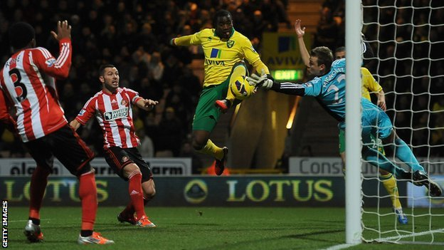 Sebastien Bassong scores for Norwich against Sunderland