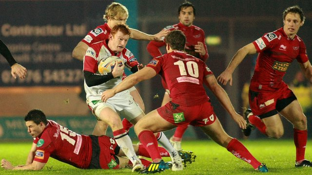 Action from the Pro12 match between Scarlets and Ulster