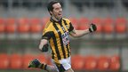 Defender Aaron Kernan wheels away in celebration after scoring Crossmaglen&#039;s second goal in the Athletic Grounds decider 