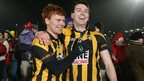 Cross duo Kyle Carragher and Tony Kernan celebrate after the 3-9 to 1-9 victory over Kilcoo
