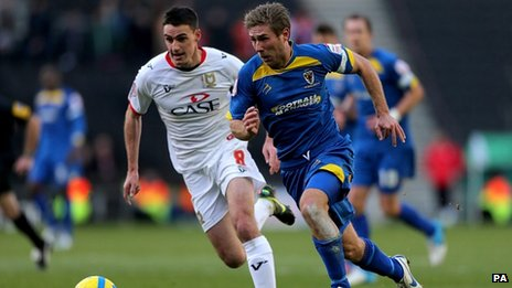 Milton Keynes Dons&#039; Darren Potter and AFC Wimbledon&quot;s Stacy Long