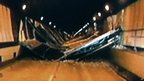 Still from video footage of the Sasago tunnel collapse, taken on 2 Dec