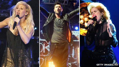Ellie Goulding, Danny O'Donaghue and Paloma Faith