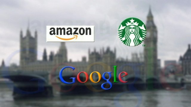 Houses of Parliament with images of Google, Amazon and Starbucks