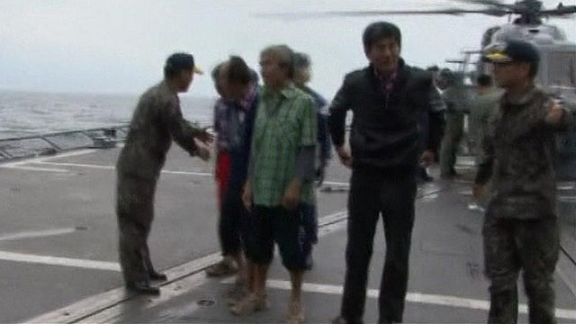 Freed South Korean sailors