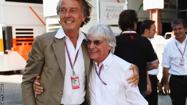Ferrari president Luca di Montezemolo and F1 boss Bernie Ecclestone