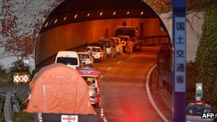 Entrance of the Sasago tunnel along the Chuo highway near the city of Otsuki in Yamanashi prefecture, 3 December 2012, following the tunnel collapsed on 2 December