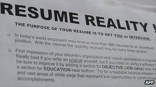 A tip sheet offered by resume counsellors to job seekers to help them improve their resume or curriculum vitae, at a job fair in  California on 2 June 2010