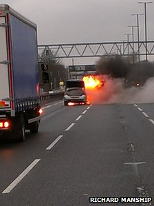 Car on fire on M4 on Monday