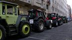 Tractors taking part in a protest in Brussels.