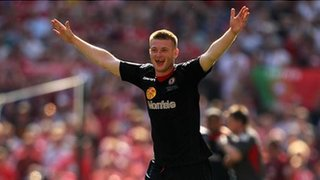 Adam Dugdale celebrates at Wembley