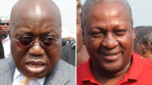 Pictures of Ghanaian President John Mahama (r) of the National Democratic Congress and the presidential candidate of the National Patriotic Party, Nana Akufo-Addo (l)