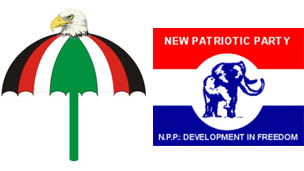 Party logos of the National Democratic Congress (l) and New Patriotic Party (r)