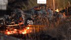 Wrecked minivan pulled from Sasago tunnel in Japan, 3 Dec