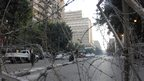 Barbed wire blocking Qasr al-Aini Street