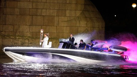 Beckham and Team GB footballer Jade Bailey on the Bladerunner boat