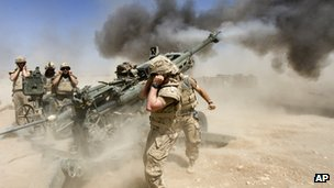 Canadian troops fire a 155mm howitzer in Helmand Province, Afghanistan, in April 2007