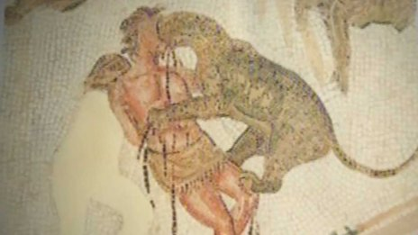 A Tunisian mosaic shows a Caledonian prisoner killed by a wild animal