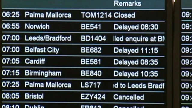 A indicator board shoing flight delays and cancellations
