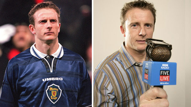 Kevin Gallacher in action for Scotland and in his new role as a football pundit