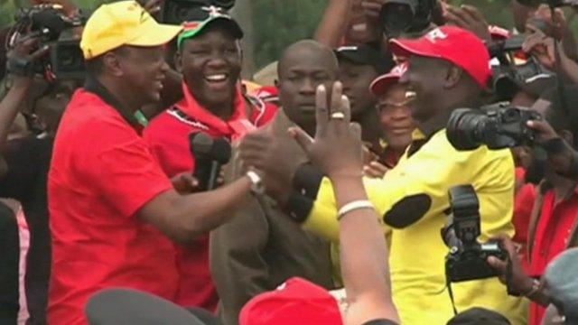 Kenyan Deputy Prime Minister Uhuru Kenyatta and former minister William Ruto