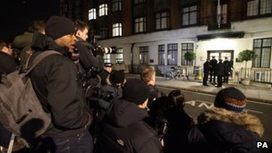 Press outside Prince Edward VII hospital in central London