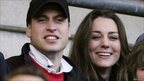 Prince William and Kate Middleton watch the action during the RBS Six Nations Championship match between England and Italy at Twickenham on February 10, 2007