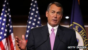 US Speaker of the House Rep John Boehner speaks during a news conference 30 November 2012