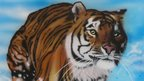 Airbrush painting of a tiger