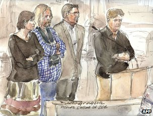 An artist's sketch shows (from left) defendants Marie-Agnes Peleran,  Alain Peligat , Philippe van Winkelberg and Christophe Letien in court in Paris, 3 December
