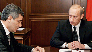 Kabardino-Balkaria President Kanokov, left, with Russian President Vladimir Putin 