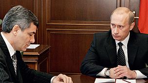 Kabardino-Balkaria President Kanokov, left, with Russian President Vladimir Putin