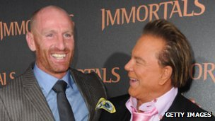 Rugby player Gareth Thomas (left) and actor Mickey Rourke at Nokia Theatre, Los Angeles in late 2011