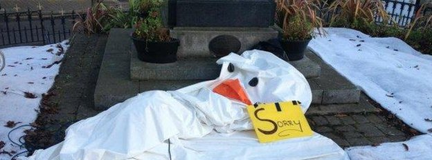 Called Snowy the decoration went missing from the roof of a building in Wicklow Town