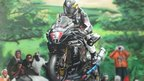 Airbrush painting of a motorcyclist
