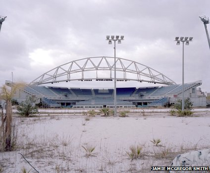 A deserted stadium in the Olympic Park in Athens