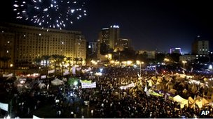 Fireworks over Tahrir Square, Cairo (4 Dec 2012)
