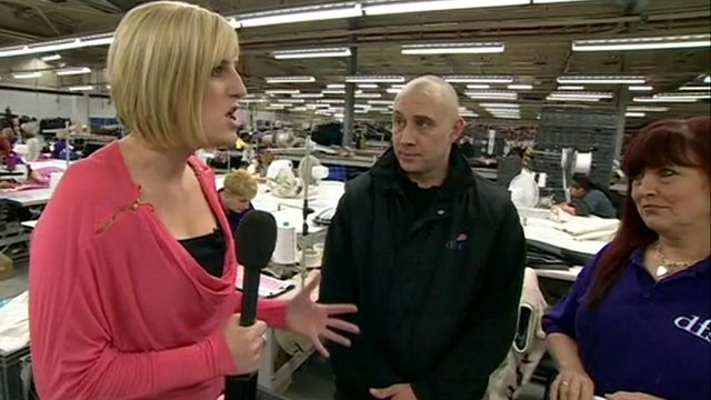Steph McGovern speaking to factory workers