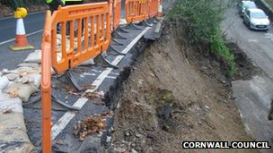 The A387 after a landslip