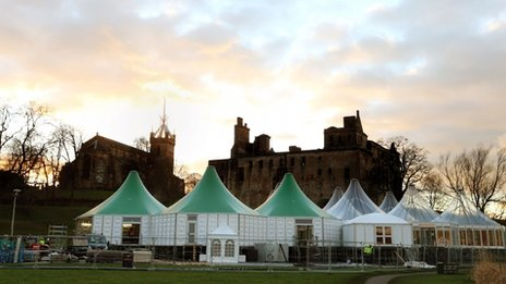 Tents erected outside Linlithgow Palace