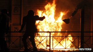 Firebomb at anti-austerity riot in Greece