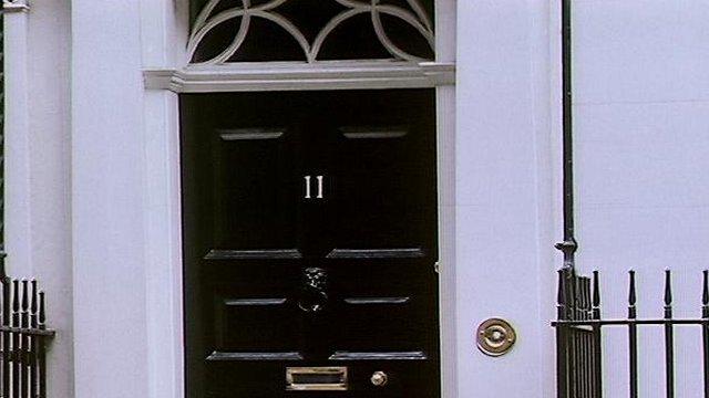 The front door of 11 Downing Street
