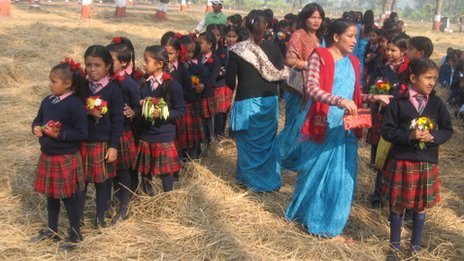 Girls in Nepal take part in the traditional Kanya Puja ceremony