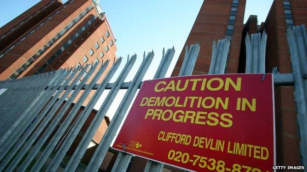 Condemned buildings in London