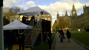 Media village at Westminster