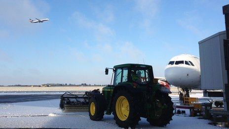 Tractor clearing snow at Stansted Airport
