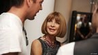 Anna Wintour backstage ahead of a fashion show in London