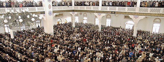 Worshippers in a mosque in Makhachkala, Dagestan