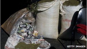 File picture of sacks of seized marijuana in Cape Town 