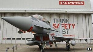 Eurofighter Typhoon outside a BAE Systems hangar